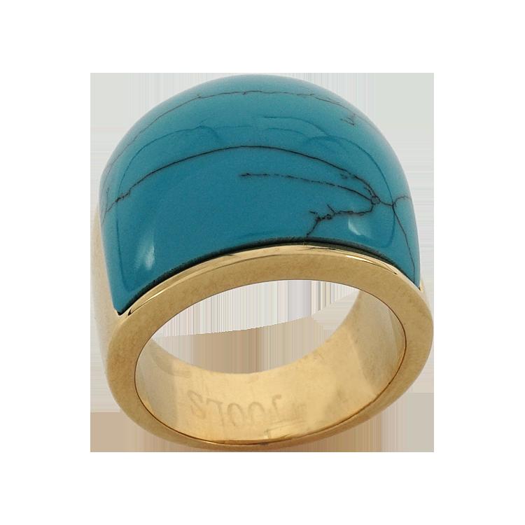 Jools Δαχτυλίδι από Ατσάλι με Κίτρινο Επιχρύσωμα R0604.2