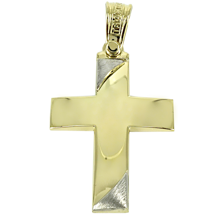 Σταυρός Βάπτισης 14Κ Δίχρωμος Χρυσός Ανδρικός ΤΡΙΑΝΤΟΣ ST1436