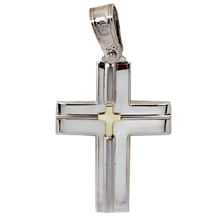 Σταυρός Βάπτισης 14Κ Δίχρωμος Χρυσός Ανδρικός ST1572