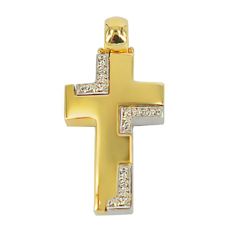 Σταυρός Βάπτισης 14Κ Δίχρωμος Χρυσός Γυναικείος ST1058