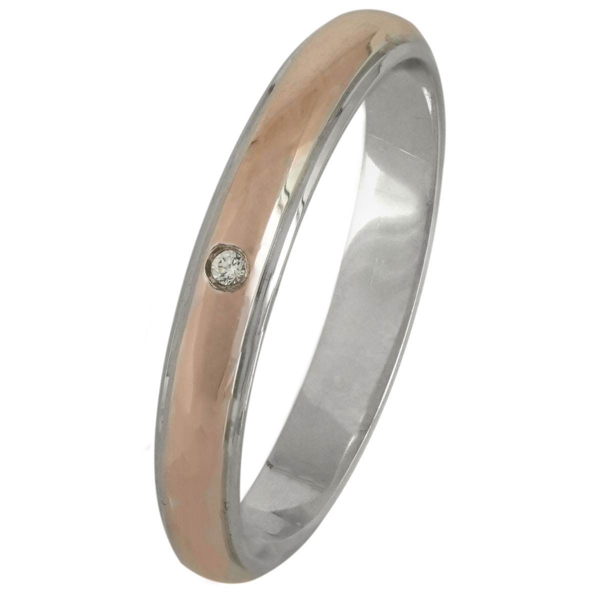 Δίχρωμη Ασημένια Βέρα Γάμου με ή χωρίς Πέτρες WRS180DR