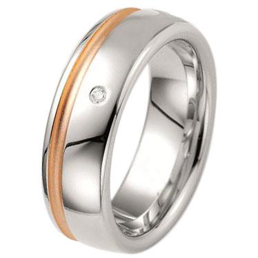 Δίχρωμη Ασημένια Βέρα Γάμου Breuning με ή χωρίς Πέτρες WRS231 diamonds