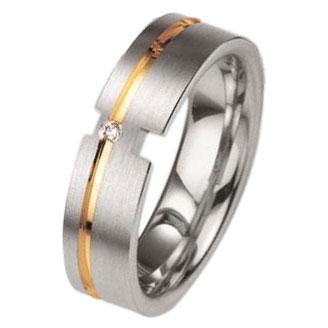 Δίχρωμη Ασημένια Βέρα Γάμου Breuning με ή χωρίς Πέτρες WRS228 diamonds