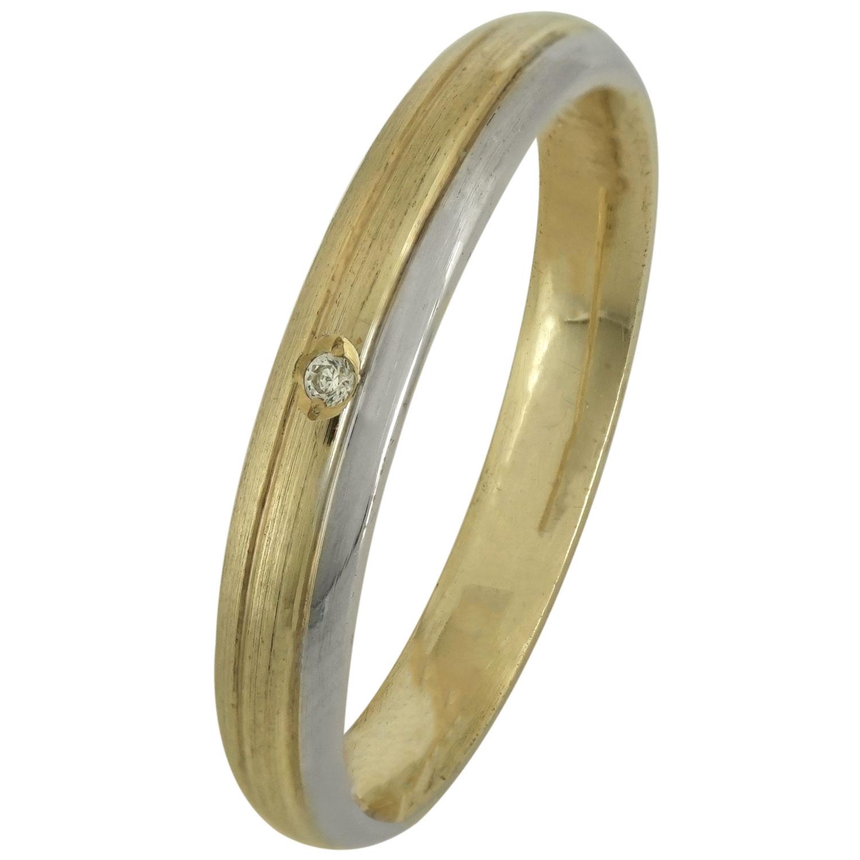 Δίχρωμη Ασημένια Βέρα Γάμου με ή χωρίς Πέτρες WRS182D