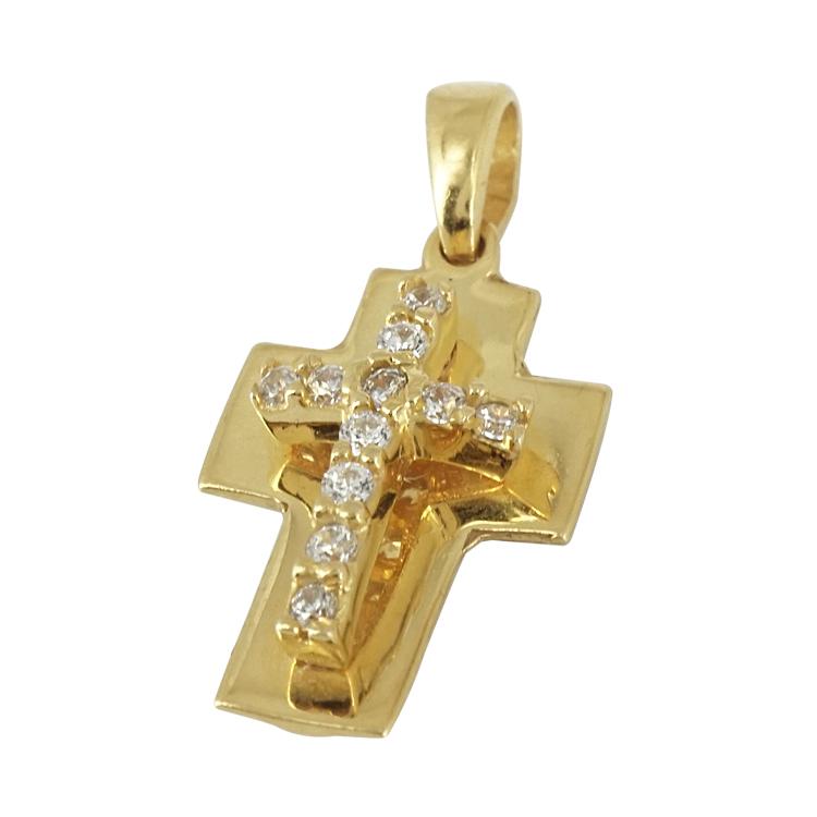 Κίτρινο Χρυσό Μενταγιόν Σταυρουδάκι Κ14 STM150