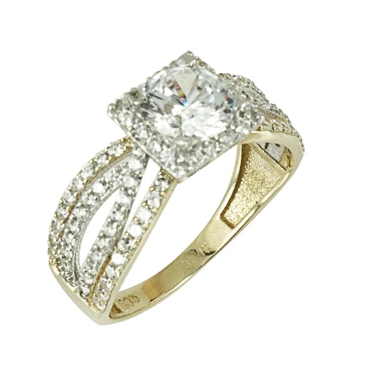 Δίχρωμο Χρυσό Μονόπετρο Δαχτυλίδι Κ14 DX235