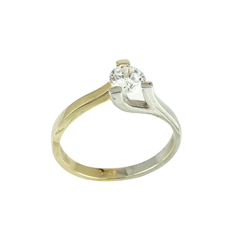 Δίχρωμο Χρυσό Μονόπετρο Δαχτυλίδι Κ14 DX236