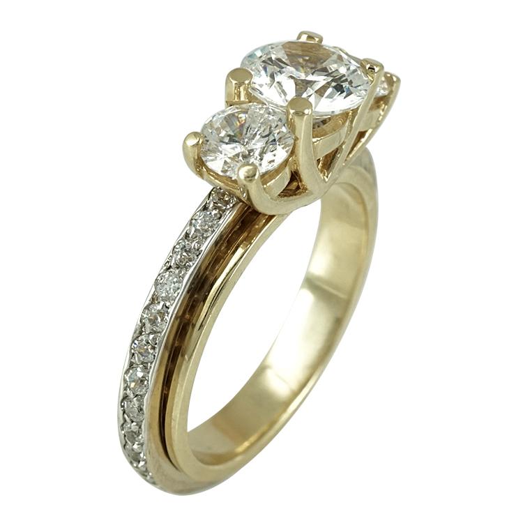 Δίχρωμο Χρυσό Ολόβερο Μονόπετρο Δαχτυλίδι Κ14 DX240