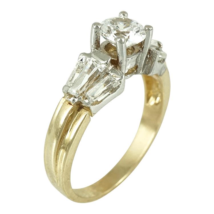 Δίχρωμο Χρυσό Μονόπετρο Δαχτυλίδι Κ14 DX242