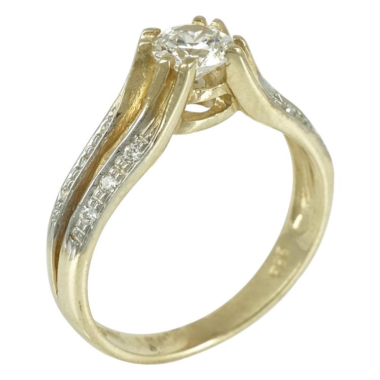 Δίχρωμο Χρυσό Μονόπετρο Δαχτυλίδι Κ14 DX245