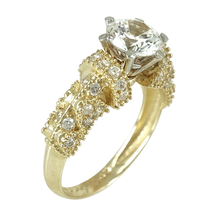 Κίτρινο Χρυσό Μονόπετρο Δαχτυλίδι Κ14 DX246