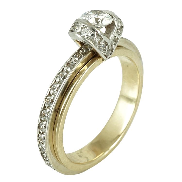 Δίχρωμο Χρυσό Δαχτυλίδι Ολόβερο Μονόπετρο Κ14 DX249