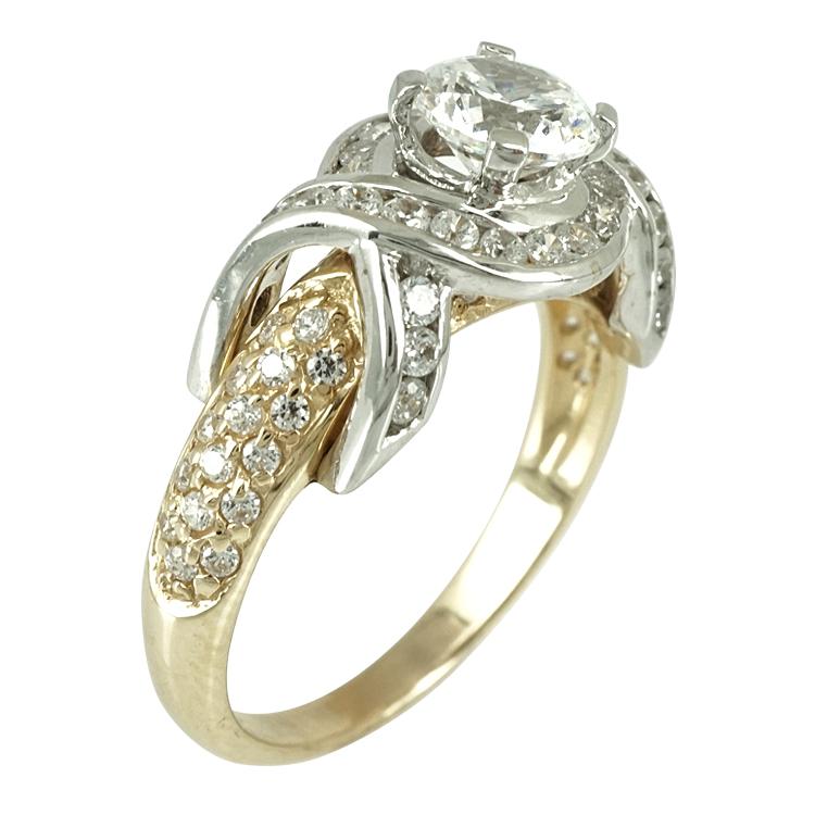 Δίχρωμο Χρυσό Μονόπετρο Δαχτυλίδι Κ14 DX250