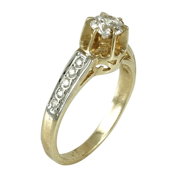 Κίτρινο Χρυσό Μονόπετρο Δαχτυλίδι Κ14 DX253