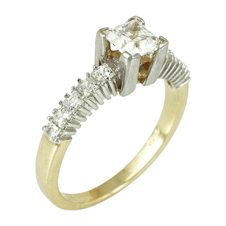 Δίχρωμο Χρυσό Μονόπετρο Δαχτυλίδι Κ14 DX255