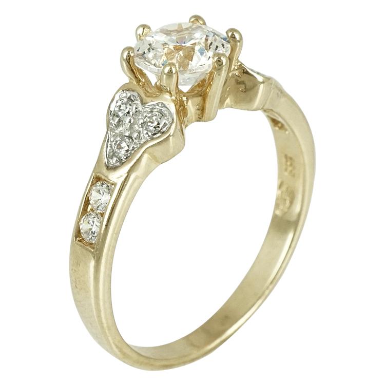 Κίτρινο Χρυσό Μονόπετρο Δαχτυλίδι Κ14 DX259
