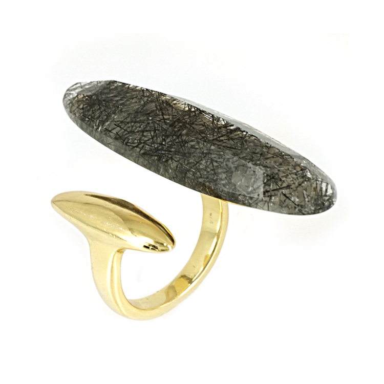 Ασημένιο Επιχρυσωμένο Δαχτυλίδι με Ορυκτή Πέτρα DX266