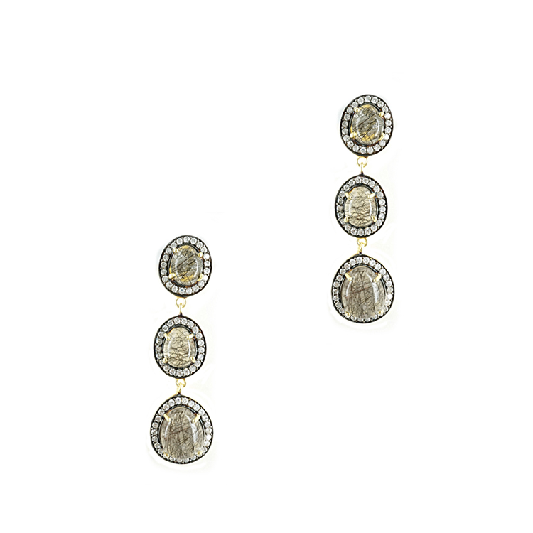 Ασημένια Σκουλαρίκια με Ορυκτές Πέτρες SK262