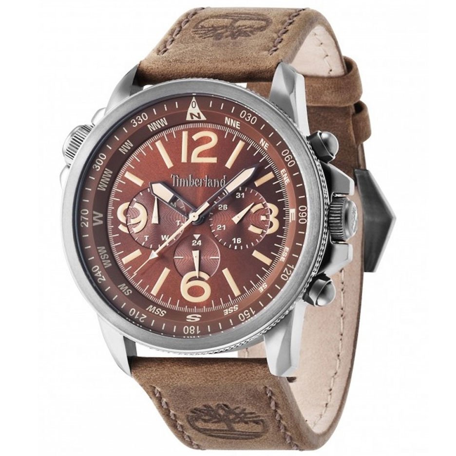 TIMBERLAND Campton Multifunction Brown Leather Strap 13910JSU-12