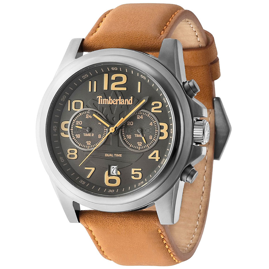 TIMBERLAND Picket Dual Time Stainless Steel Leather Strap 14518JSU-61B