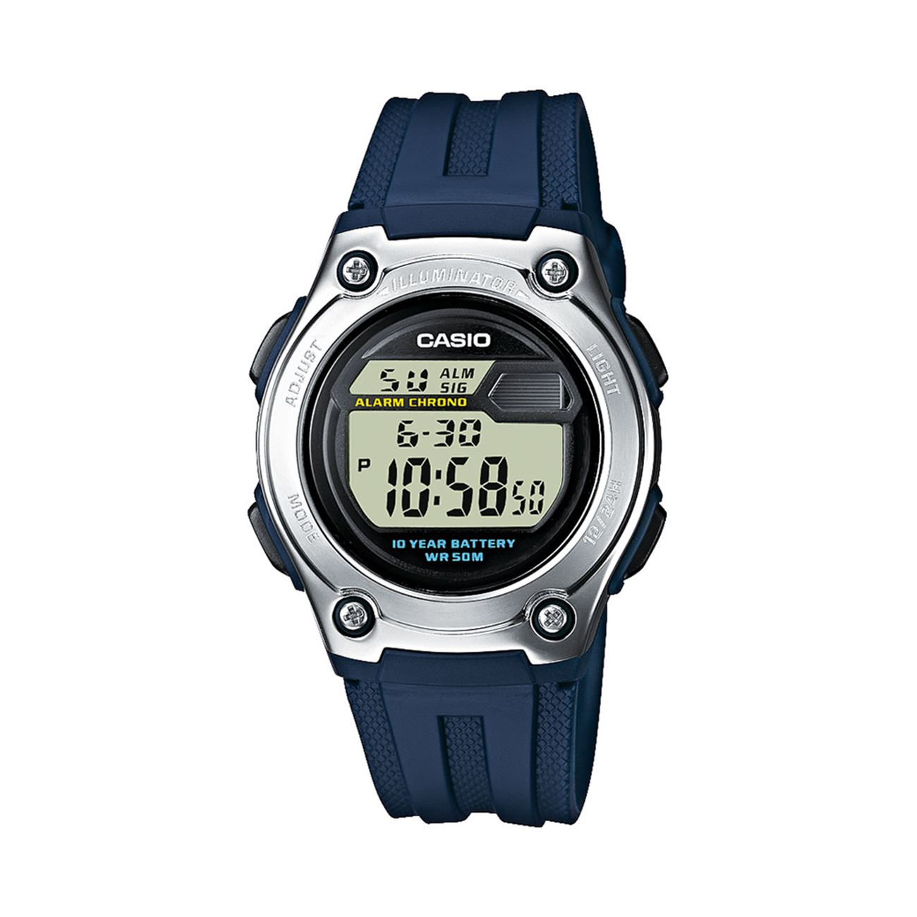 CASIO Collection Blue Rubber Strap W-211-2AVES