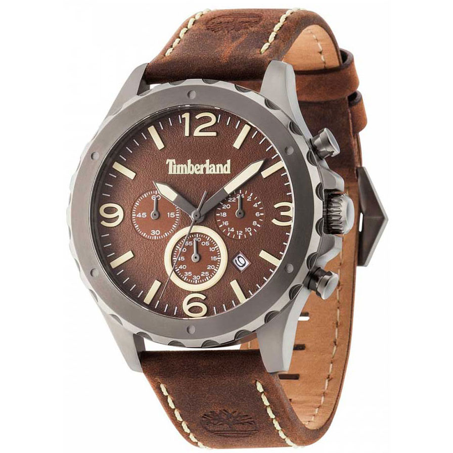 TIMBERLAND Warren Multifunction Brown Leather Strap 14810JSU-12 ... ce2b5035fd7