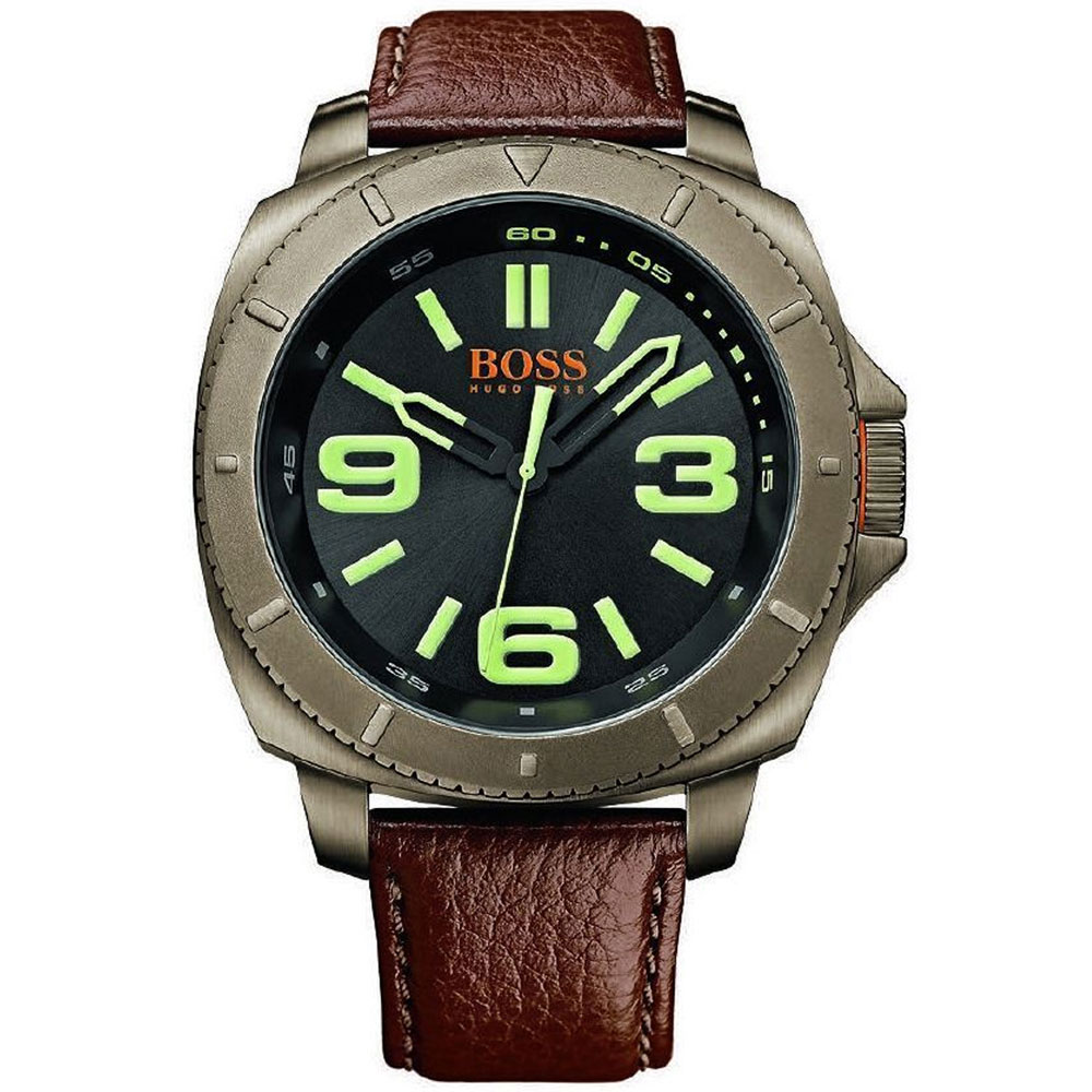 BOSS ORANGE Sao Paulo Luminous Black Face Brown Leather Strap Watch 1513164
