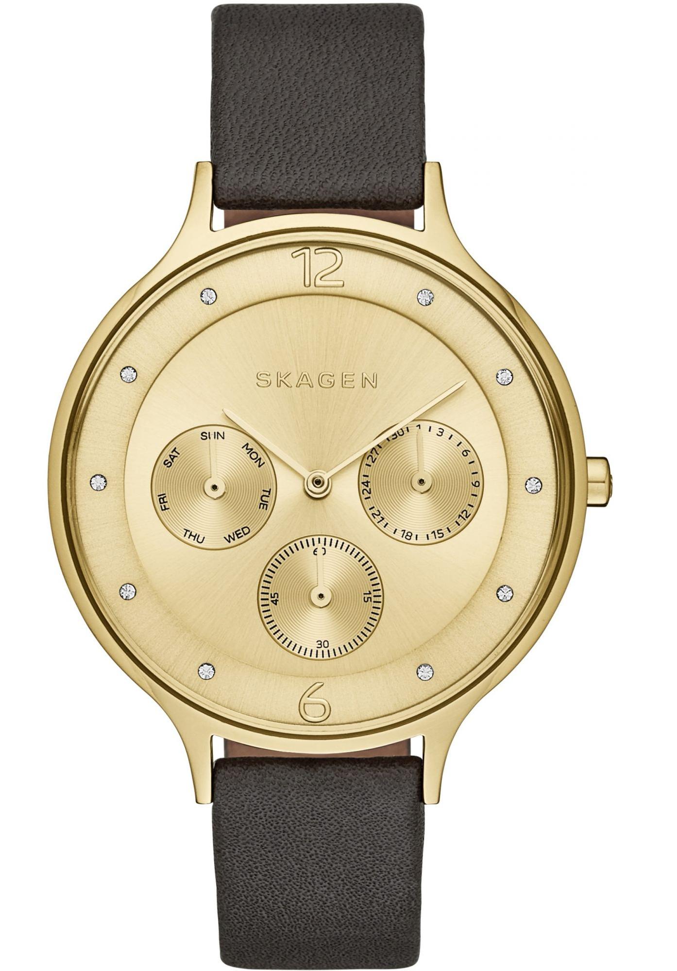 SKAGEN Ladies Anita Black Leather Multifunction Watch SKW2393