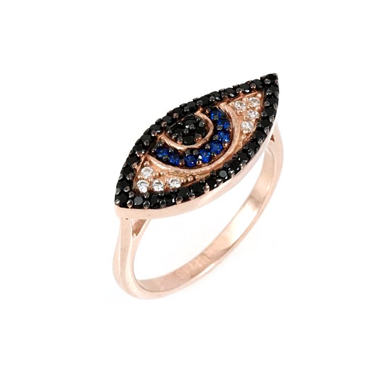 Ασημένιο Ροζ Επιχρυσωμένο Δαχτυλίδι Μάτι DX319
