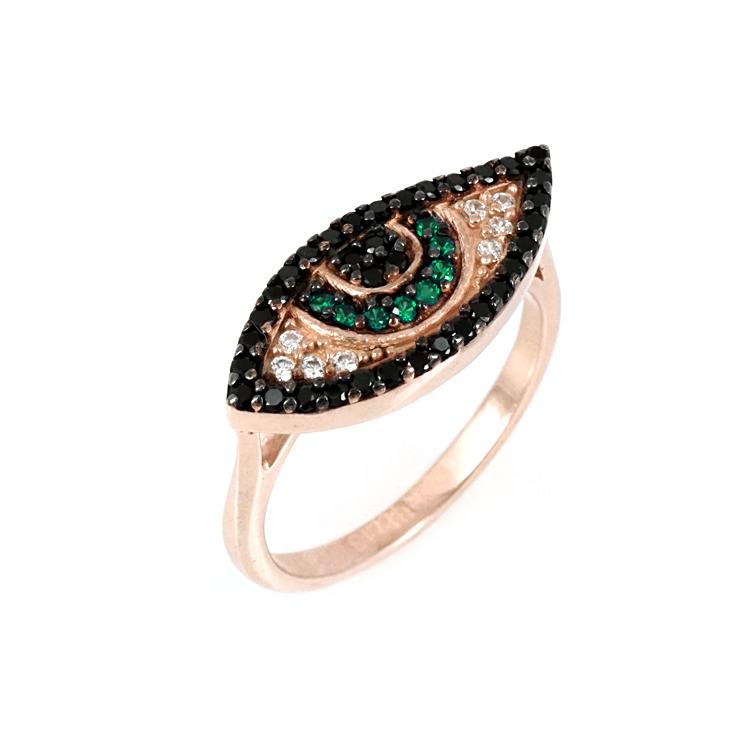 Ασημένιο Ροζ Επιχρυσωμένο Δαχτυλίδι Μάτι DX320