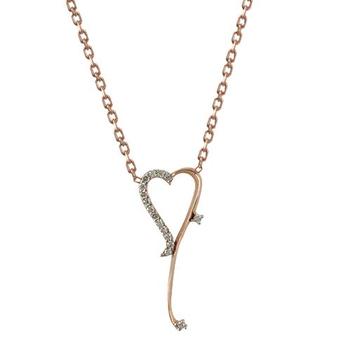 Ροζ Χρυσό Κολιέ Καρδιά Κ14 KL70053