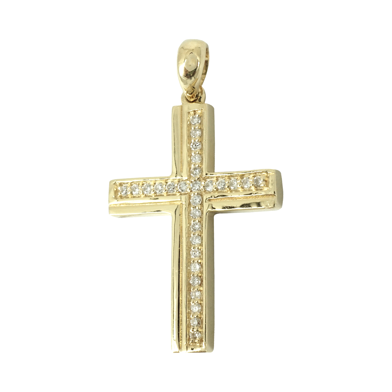 Σταυρός Βάπτισης Κ18 Χρυσός με Διαμάντια Brilliant Γυναικείος ST037408