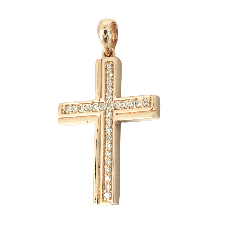 Σταυρός Βάπτισης Κ18 Ροζ Χρυσός με Διαμάντια Brilliant Γυναικείος ST037410