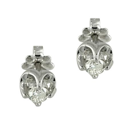 Λευκόχρυσα Μονόπετρα Σκουλαρίκια K18 με Διαμάντια Brilliant EO0212