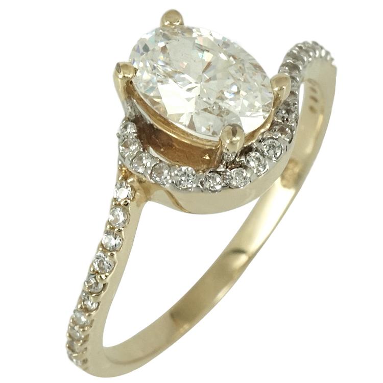 Κίτρινο Χρυσό Μονόπετρο Δαχτυλίδι Κ14 DX62911