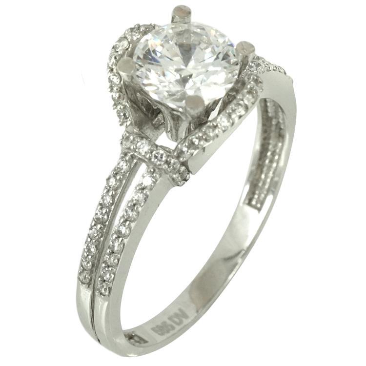 Λευκόχρυσο Μονόπετρο Δαχτυλίδι K14 DX69503