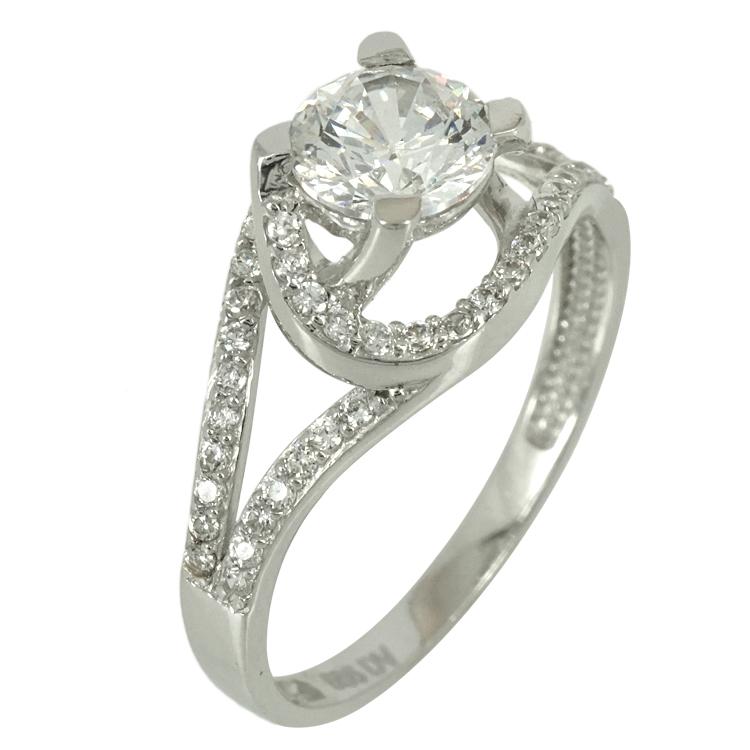 Λευκόχρυσο Μονόπετρο Δαχτυλίδι K14 DX69519