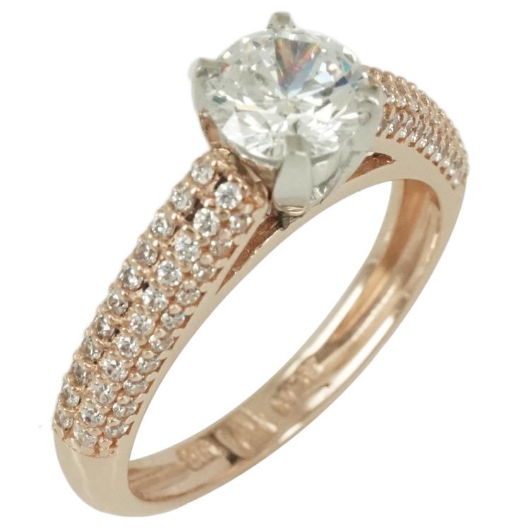 Δίχρωμο Χρυσό Μονόπετρο Δαχτυλίδι Κ14 DX286