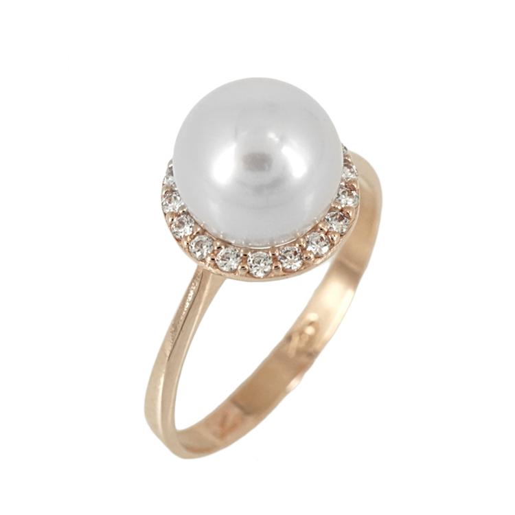 Ροζ Χρυσό Μονόπετρο Δαχτυλίδι με Μαργαριτάρι Κ14 DX61927