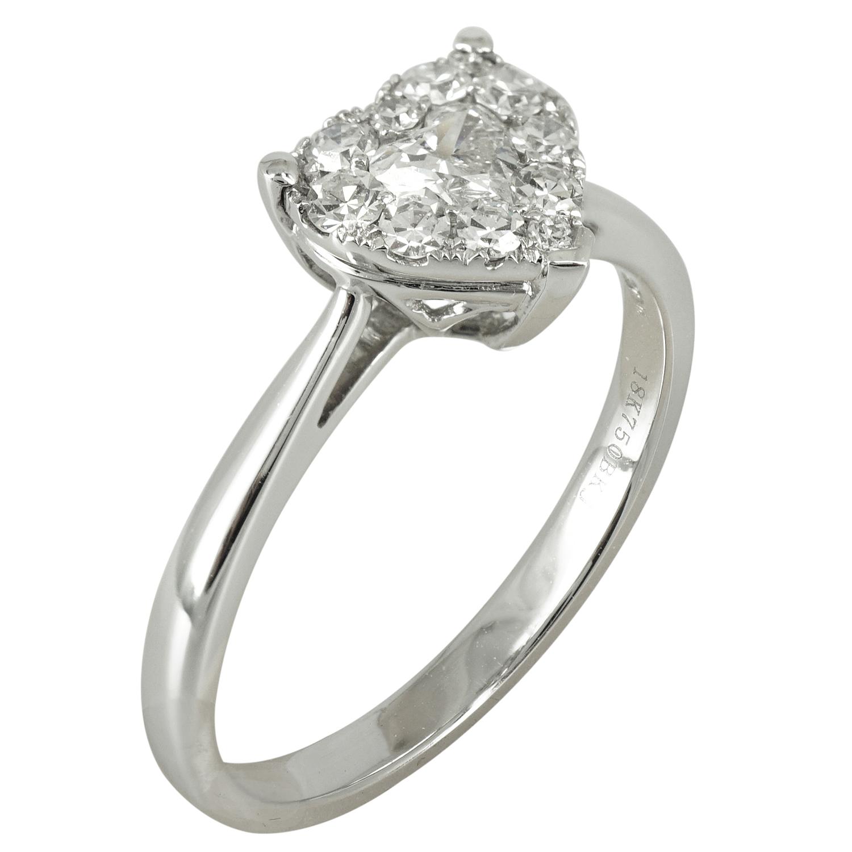 Μονόπετρο Δαχτυλίδι Σε Σχήμα Καρδιάς Κ18 με Διαμάντια Brilliant DDX108