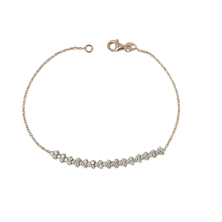 Ροζ Χρυσό Βραχιόλι με Signity Stones K14 VR70127