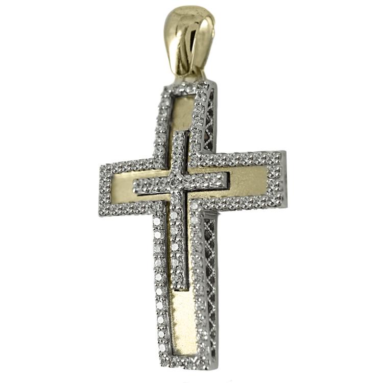 Σταυρός Βάπτισης 14Κ Δίχρωμος Χρυσός Γυναικείος ST1696