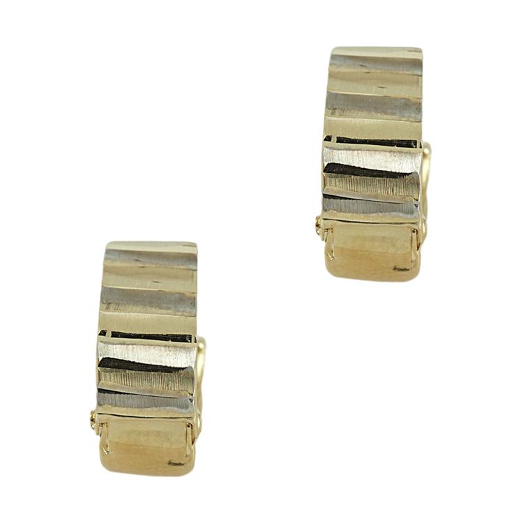 Δίχρωμα Χρυσά Σκουλαρίκια Κρίκοι Κ14 SK380