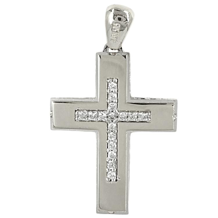 Σταυρός Βάπτισης 14K Λευκόχρυσος Γυναικείος ST1719
