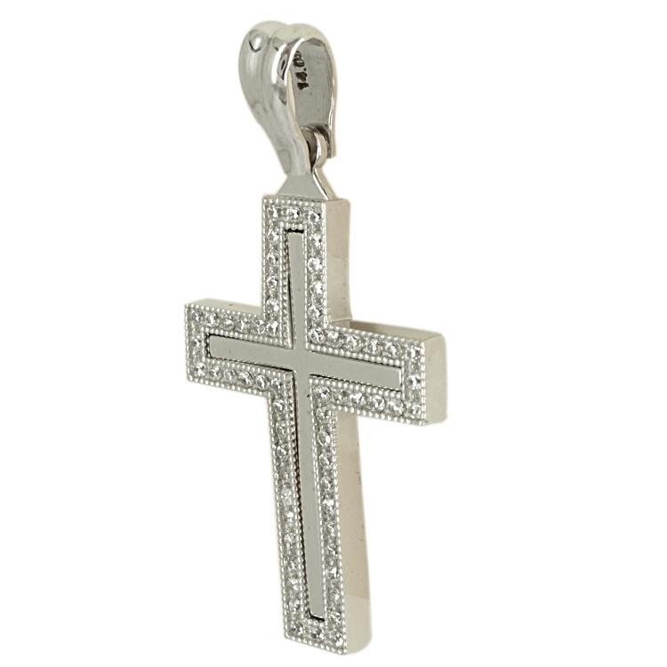 Σταυρός Βάπτισης 14K Λευκόχρυσος Γυναικείος ST1726