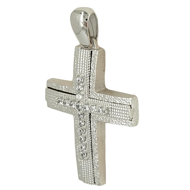 Σταυρός Βάπτισης 14K Λευκόχρυσος Γυναικείος ST1731