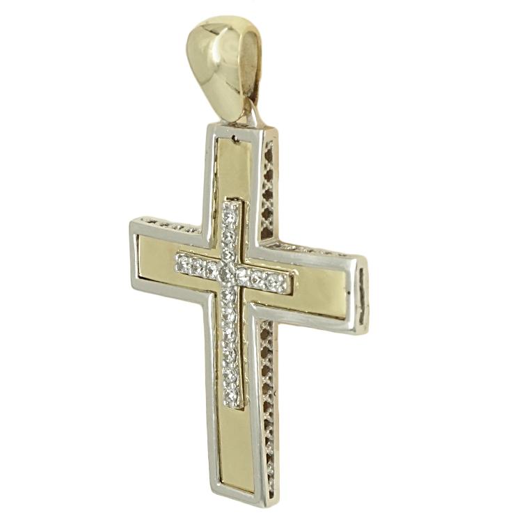 Σταυρός Βάπτισης 14K Δίχρωμος Χρυσός Γυναικείος ST1733