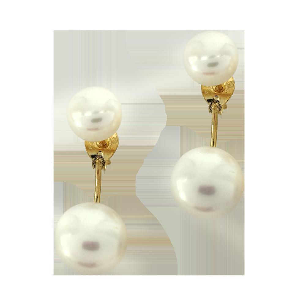Κίτρινα Χρυσά Σκουλαρίκια Με Φυσικά Μαργαριτάρια K14 SK182