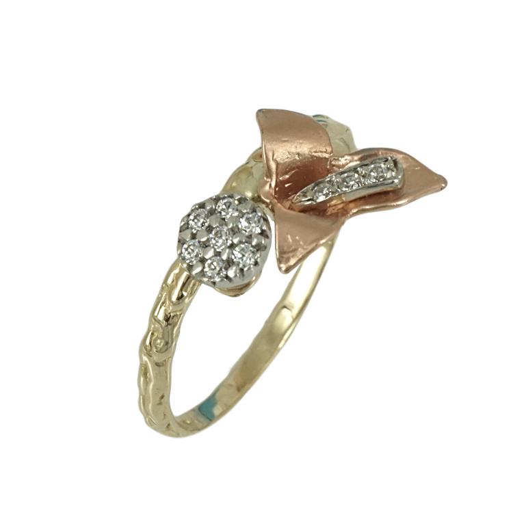 Δίχρωμο Χρυσό Δαχτυλίδι Κ14 DX356