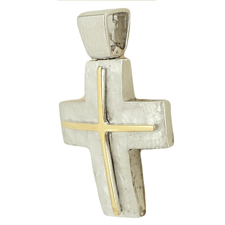Σταυρός Βάπτισης 14K Δίχρωμος Χρυσός Ανδρικός ST1799